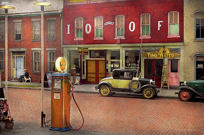 Photograph - Gas Station - Lazy Saturday's 1935 by Mike Savad