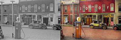 Photograph - Gas Station - Lazy Saturday's 1935 - Side By Side by Mike Savad