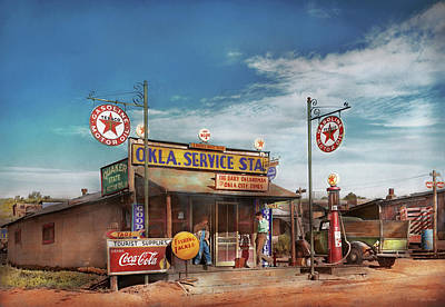 Photograph - Gas Station - Oklahoma Service Station 1939 by Mike Savad