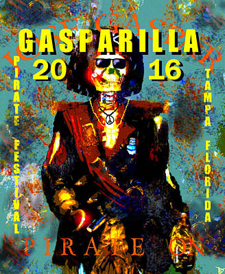 Painting - Gasparilla 2016 Jose Gaspar Pirate On Work A by David Lee Thompson