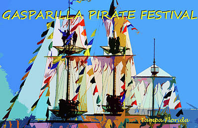 Painting - Gasparilla Colorful Ship by David Lee Thompson