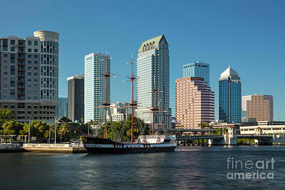 Photograph - Gasparilla Pirate Ship And Tampa Skyline by Brian Jannsen