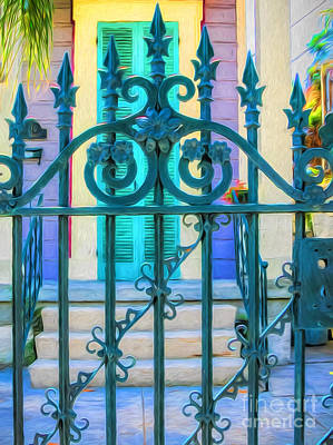 Photograph - Gate Entrance-nola-painted by Kathleen K Parker