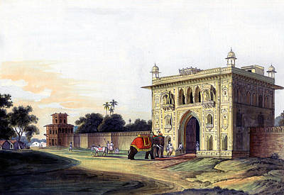 Lal Bagh Painting - Gate Of Lal Bagh Faizabad India Historical Monument Vintage Painting Miniature Watercolor Artwork by A K Mundra