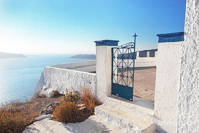 Photograph - Gate To A Church In Fira On Santorini Island, Greece. Aegean Sea View by Michal Bednarek