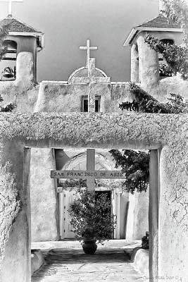 Photograph - Gate To Ranchos Church Black And White by Charles Muhle