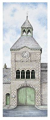Brick Building Drawing - Gatehouse Clock   Caton Road  Lancaster   Lancashire by Sandra Moore