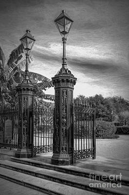 Photograph - Gates Of Jackson Square Charcoal - Nola by Kathleen K Parker