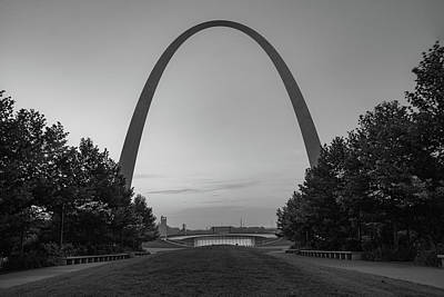 Photograph - Gateway Arch Morning Landscape - Saint Louis Missouri - Monochrome by Gregory Ballos
