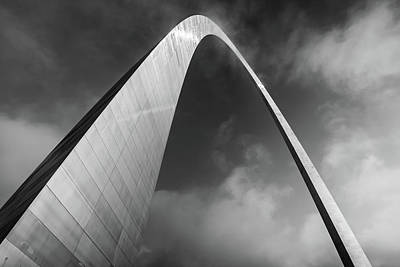 Photograph - Gateway Arch National Park With Cloudy Monochrome Skies by Gregory Ballos