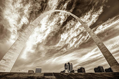 Photograph - Gateway Arch Over The Saint Louis Skyline - Sepia by Gregory Ballos