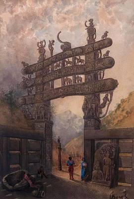 Middleton Painting - Gateway At Sanchi Tope by Julius Middleton