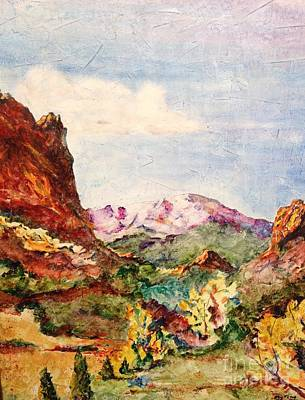 Pikes Peak Colorado Painting - Gateway  by Eric Fetsch