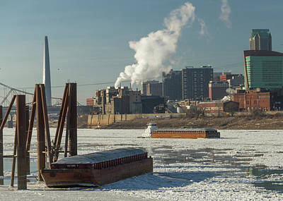 Photograph - Gateway Express  On The Icy Mississippi River by Garry McMichael