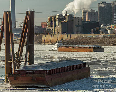 Photograph - Gateway Express Woking On The Icy Mississippi River by Garry McMichael
