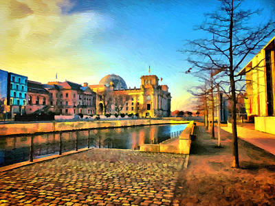 River Spree Painting - Gateway To Government Quarter by Ralph van Och