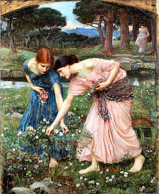 Painting -  Gather Ye Rosebuds While Ye May by John William Waterhouse - Joy of ife Old Masters Gallery
