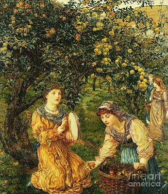Picking Apples Painting - Gathering Apples by Thomas Matthews Rooke