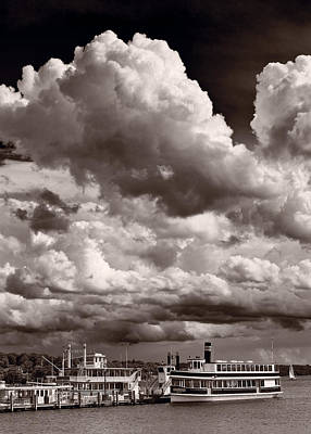 Geneva Photograph - Gathering Clouds Over Lake Geneva Bw by Steve Gadomski