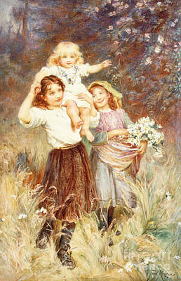 Girl 3 Painting - Gathering Flowers by Frederick Morgan