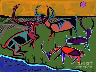 Digital Art - Gathering Herd by Hans Magden