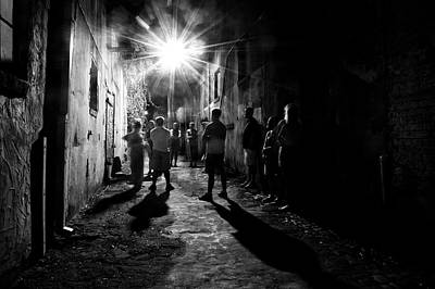 Shadow Photograph - Gathering In A Wilmington Alley In Black And White by Greg Mimbs