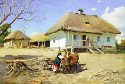 Homestead Mixed Media - Gathering Near The Homestead by Georgiana Romanovna