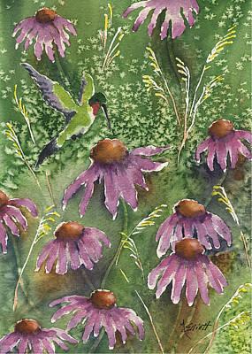 Humming Bird Wall Art - Painting - Gathering Nectar by Marsha Elliott