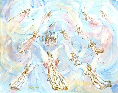 Angel Painting - Gathering Of Angels by Rosemary Babikan