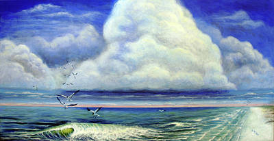 Painting - Gathering Of The Gulls by Suzanne McKee