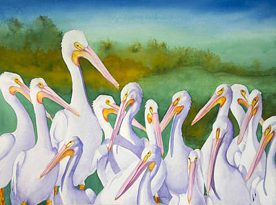 Wall Art - Painting - Gathering Of White Pelicans by Terry Arroyo Mulrooney