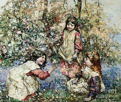 Primroses Painting - Gathering Primroses, 1919  by Edward Atkinson Hornel