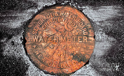 New Orleans Water Meter Cover 9 Months After Katrina Art Print by Pringle Teetor