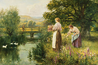 Woman On The River Painting - Gathering Spring Flowers by Henry John Yeend King