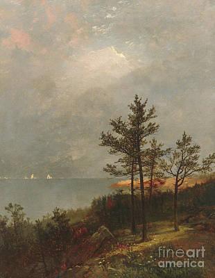Long Leaf Pine Painting - Gathering Storm On Long Island Sound, 1872 by John Frederick Kensett