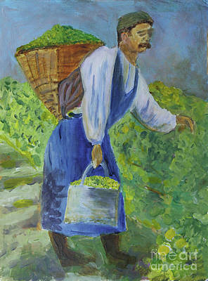 Painting - Gathering The Grapes by Donna Walsh