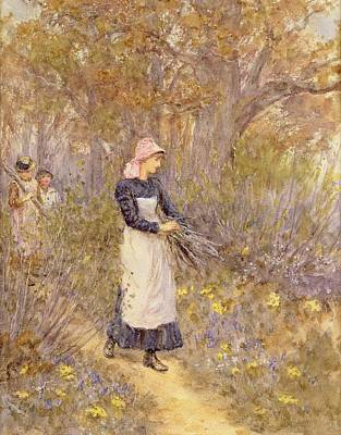 Gathering Wood For Mother Print by Helen Allingham