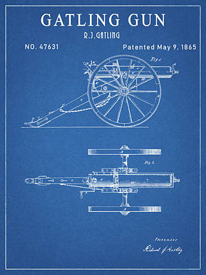 Drawing - Gatling Gun Patent by Dan Sproul