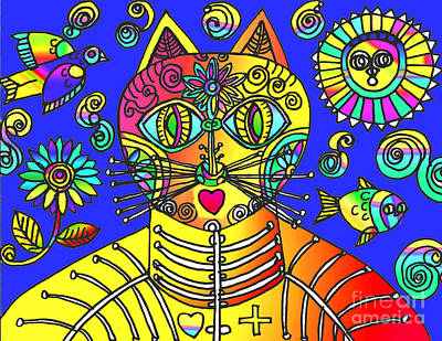 Drawing - Gato Azul by Lydia L Kramer