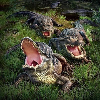 Alligator Digital Art - Gator Aid by Jerry LoFaro