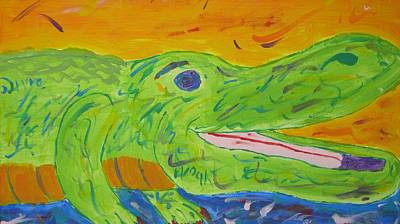 Trippy Painting - Gator In Bloom by Yshua The Painter