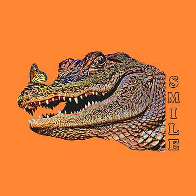 Southern Universities Digital Art - Gator Smile by Mitch Spence
