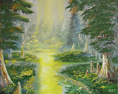 Louisiana Alligator Painting - Gatorland by Nicolas Avet