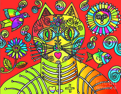 Drawing - Gatos Naranja by Lydia L Kramer
