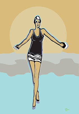 Retro Look Painting - Summer Beach Dreaming by Cecely Bloom