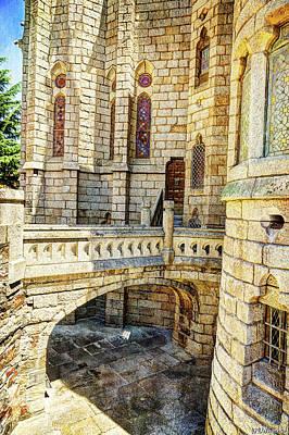 Photograph - Gaudi Palace Moat - Vintage by Weston Westmoreland