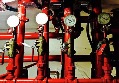 Photograph - Gauges And Red Pipes by Brian Sereda
