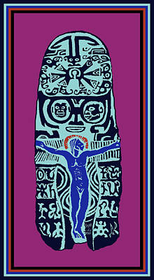 Digital Art - Gauguin Crucifix Woodcut by Vagabond Folk Art - Virginia Vivier