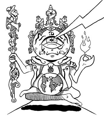 Drawing - Gautama Buddha Black And White by Sotuland Art