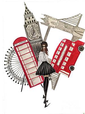 London Eye Mixed Media - Gavi Leveaux In London by Gabrielle Aguirre
